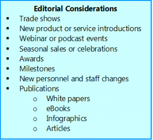 Image is list of goals and events to consider for editorial calendar