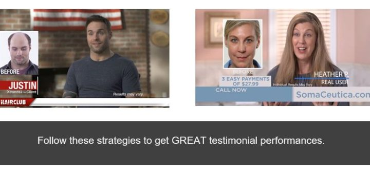 image of testimonials for TV commercials