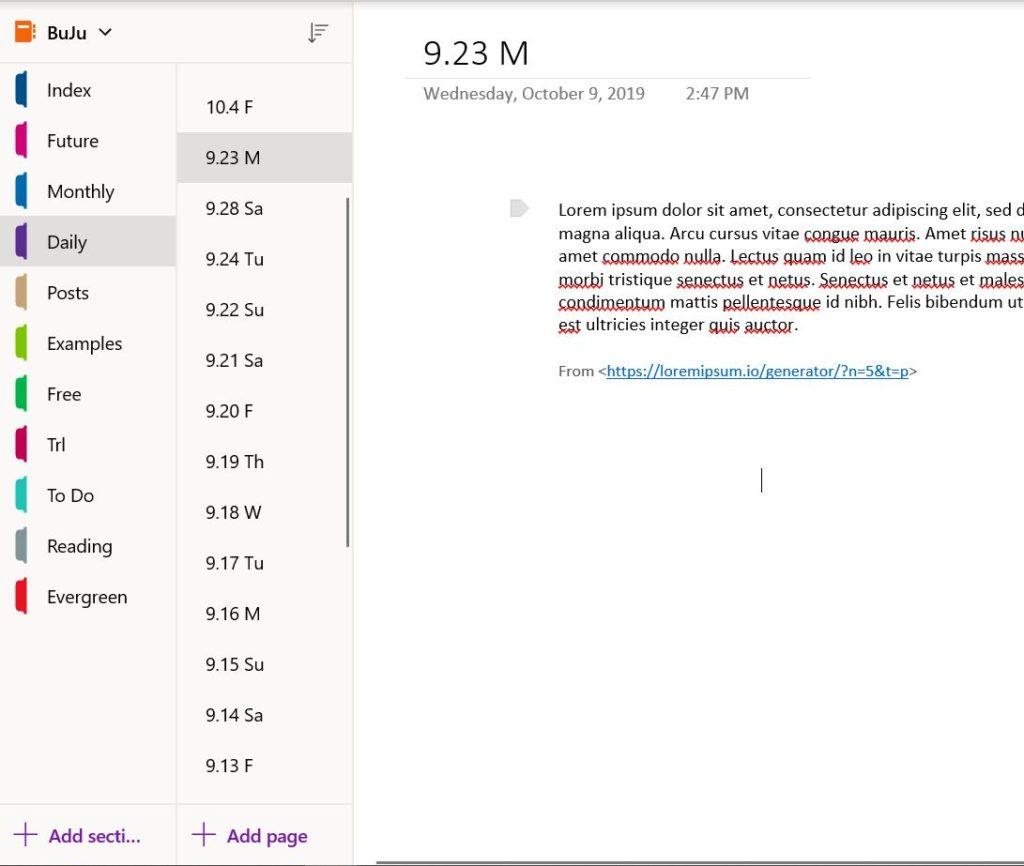Screenshot of note-taking app illustrating bullet journaling